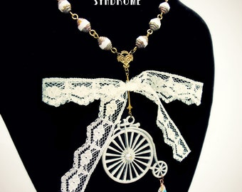 Penny Farthing bicycle necklace ivory color, steampunk & shabby chic, lace and glass beads