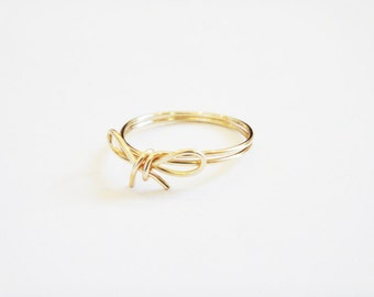 Gold Bow Ring Dainty Ring Gold Plated Wire Wrapped