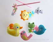 "Baby Crib Mobile - Baby Mobile - Swimming Yellow Duck  Nursery Mobile - ""Summer Frog Pond"" (Pick your color)"