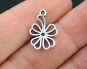 BULK 50 Flower Charms Antique Silver Tone 2 Sided - SC4084