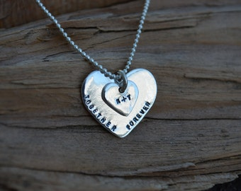 Heart Charm Necklace - Personalized - Sterling Silver - Best Friends, Valentines Day ,Anniversary,Mothers Day, Wedding -Wife,Sister,Daughter