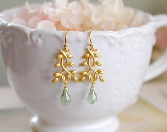 Gold Twig Earrings, Leaf Earrings, Leaf sprig Leaf Branch Dangle Earrings, Mint Green Glass Drop Earrings, Botanical Woodland Jewelry,