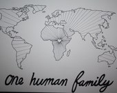 Handpainted One Human Family     free shipping