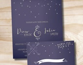 UNDER THE STARS Wedding Invitation / Response Card / Rsvp - 100 Professionally Printed Invitations & Response Cards