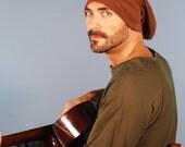 Men's Hat - Beanie - Slouchy Hat -  Organic Clothing - Organic Cotton Hemp Fleece - Brown - Eco Friendly