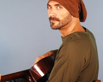 Men's Hat - Beanie - Slouchy Hat -  Organic Clothing - Organic Cotton Hemp Fleece - Brown - Eco Friendly