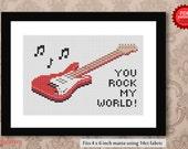You rock my world - Guitar PDF cross stitch pattern