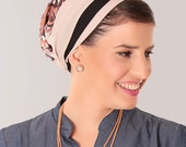 Winter sale - Pink  head wrap –  Mitpachat with paisley print  –  Hair snoods – Apron Tichel