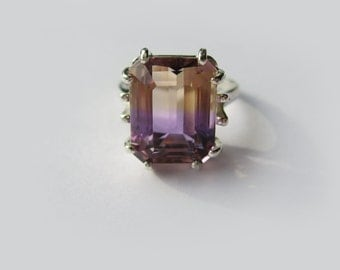 Large Top Grade Bi-Color Ametrine In Sterling Silver Ring 8.52ct. Size 6.75