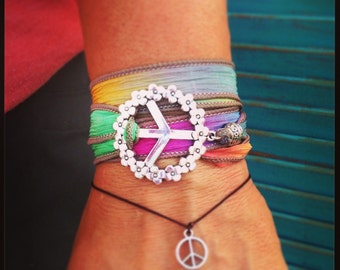 Peace Sign Silk Ribbon Wrap Bracelet - Bohemian Hippie Fun Beach Yoga Jewelry - Hypoallergenic 18 Ribbon Colors Available