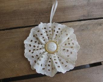 Vintage White Cotton Trim Christmas Tree Ornament White Floral Button Ornament SnowNoseCrafts