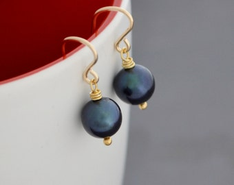 Handmade Pearl Earrings, Black Freshwater Pearl, 14K Gold Filled French Hoops, June Birthstone, Gift Under 25