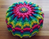 Pillow Crochet Pattern Mandala PDF - pouf or crochet hoop wall art photo tutorial - Instant DOWNLOAD