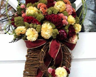 Winter holiday door basket & wreath, natural dried flowers, ivory, maroon, pink, grey green, winter wedding French cottage chic