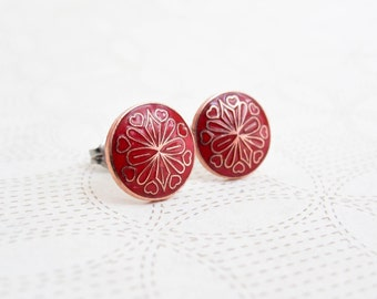 Enamel Earrings - Red Circle with Hearts - Surgical Steel Earrings - Stud Earrings - Valentine's Day Jewelry
