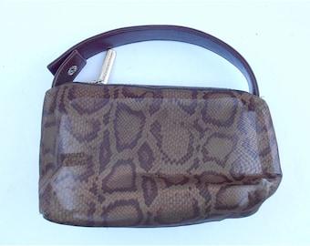 Vintage Animal Print Mesh Bag Adrienne Vittadini Designer Genuine Leather Pouch Leopard Cheetah Brown Transparent Travel Makeup Pouchette