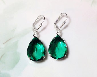Emerald Earrings Vintage Green Crystal Jewels Rhinestone Earrings May Birthstone Fall Winter Wedding Prom Military Ball Christmas Party