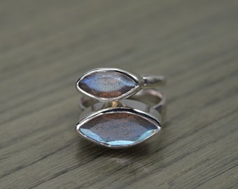 Labradorite Stack Ring, size 6.5, silver gold marquise 2ct 4ct blue grey stacking ring - Navette Ring