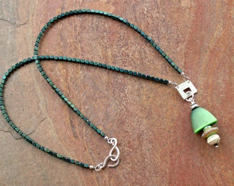 Necklace, Green Hematite - Unusual Focal Bead