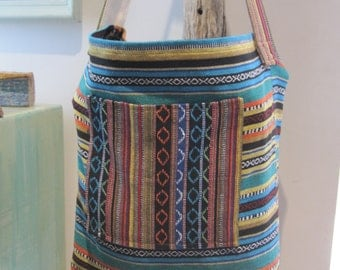 Market bag - yoga tote - beach bag - pure cotton mexican woven fabrics - great CARRY ALL bag.
