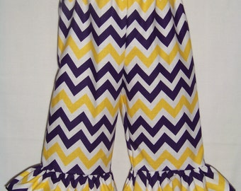 LSU Ruffle Pants / SHORTS / Purple & Gold Chevron / Geaux Tigers / LSU Baby / Infant / Baby / Girl / Toddler / Custom Boutique Clothing