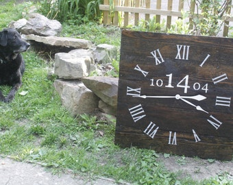 """LARGE 26"""" by 26"""" wall clock. PERONALIZED wedding Date. 5 Year Anniversary Gift. Rustic yet Modern. Reclaimed Pallet Wood. Repurposed Wood."""