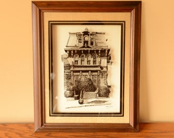 wall hanging, reverse glass, victorian home, san francisco, hugh riker, 1970s, print on glass, shadowbox frame, home, painted lady,