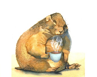 "Prairie Dog and His Cup of Coffee - Original Watercolor Painting - Rise and Shine Coffee Art - 7"" x 10"""