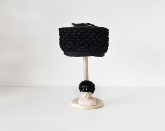 Vintage Black Pillbox Hat