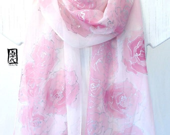 Silk Wedding Scarf, Pink Spring Scarf, Lightweight Scarf, Silk Scarf Painting, Pink and Silver Roses Silk Scarf, 11x90 inches, made to order