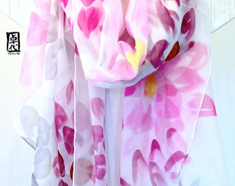 Hand painted Silk Shawl, Radiant Orchid Purple Silk Shawl, Purple Spring Garden Party. Purple Floral Scarf. Silk Chiffon Shawl. 43x72  in.