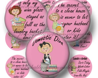 Domestic Diva, Funny Housework Sayings, Digital Collage Sheet, Bottle Cap Images, 1 Inch Circles (No.1) Printable, Instant Download