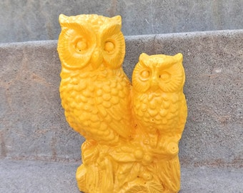 Mustard Yellow Adorable Owls Figurine Ceramic Home Decor Shelf Decor Bright White Gray