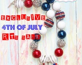 4th of July Adult Size Chunky Necklace
