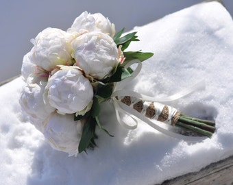 Wedding Flower Bouquet, Bridal Bouquet made with Ivory Peony Buds wrapped in Burlap Bouquet.