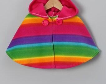 Rainbow Hooded Fleece Poncho