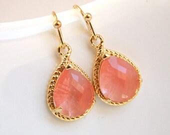Coral Earrings, Peach Earrings, Glass, Grapefruit, Gold, Dangle, Wedding Jewelry, Bridesmaid Earrings, Bridesmaid Jewelry, Bridesmaid Gifts