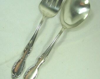 Vintage SILVERPLATE UTENSILS Rogers SERVING Spoon/Fork Royal Manor Masterpiece Claridge