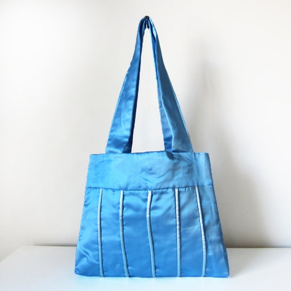 Small Blue Tote Shoulder Bag with Piping Trim and Two Straps in Satin