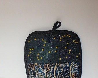 Quilted Night in the Forest Pot Holder