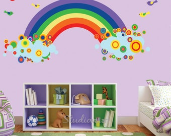 Rainbow Wall Decal with BIRDS Reusable
