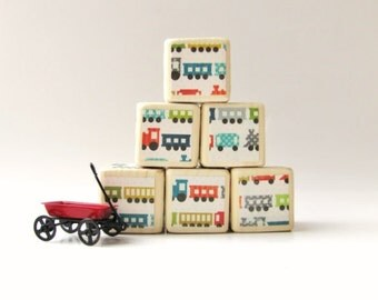Children. TOY. blocks. Trains. Baby Shower Decoration.  new baby gift. Nursery. Wood blocks. Stacking toy. Primary Colors.  Gift for boy.