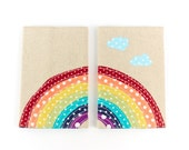 Over the Rainbow Passport Cover Cute Linen Passport Holder