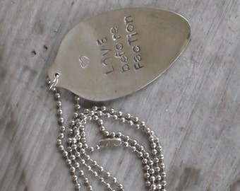 "Stamped Spoon Necklace ""Love Before Faction"" Non Conformist Silverware Jewelry  - Divergent Veronica Roth (00586-LV)"