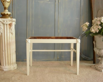 ANTIQUE VANITY Seat Painted French White Ready To Be Recovered / Sligh Manufacturer