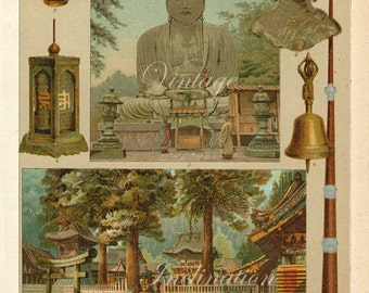 Antique Print, 1900 BUDDHISM beautiful german wall art vintage color Buddha chromolithograph illustration
