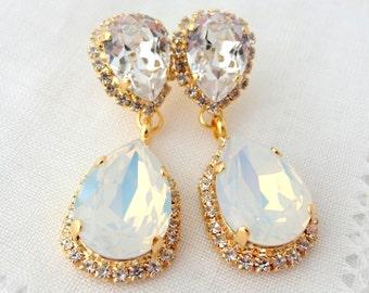 White opal earrings,Opal Chandelier earrings,opal earrings,white opal Bridal earrings,Drop earring,Dangle earrings,opal Bridesmaids earrings