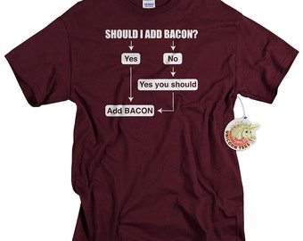 Funny Valentines Day Gift for Boyfriend Bacon Shirt for Men Funny Should I Add Bacon Tshirt for Him