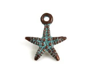 6 Mykonos Starfish - 16mm Green Patina - Charm Pendant Small Verdigris Starfish