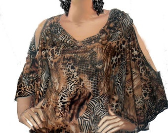 In Stock 1 Day Shipping Womens Top Open Shoulder Animal Print